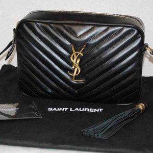 YSL Leather Monogram Lou Quilted Camera Handbag